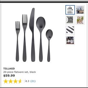 IKEA 20pc Black Flatware
